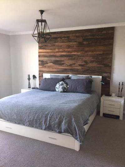 Timber feature walls in a bedroom - Artisan Two board panels by Northern Rivers Recycled Timber
