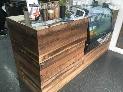 Cafe fit out using reclaimed, recycled Australian Hardwood timber at neutral bay Sydney NSW by northern rivers recycled timber