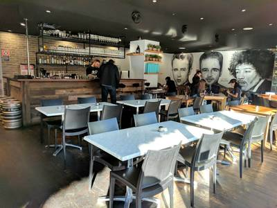 Cafe fit out using reclaimed, recycled Australian Hardwood Sleeper Panels at Surry Hills Sydney NSW by northern rivers recycled timber