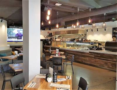 Cafe fit out using reclaimed, recycled Australian Hardwood in Macquarie Park Sydney NSW by Northern Rivers Recycled Timber