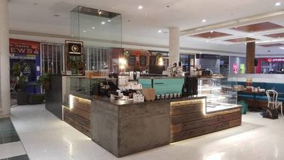 Cafe fit out using reclaimed, recycled Australian Hardwood Sleeper Panels in Maroubra Sydney NSW by Northern Rivers Recycled Timber