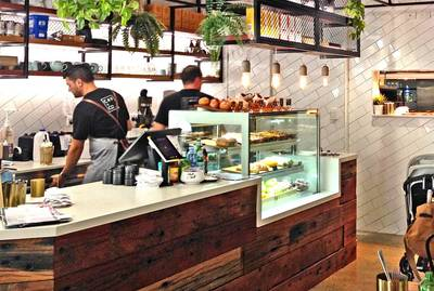 Cafe fit out using reclaimed, recycled Australian Hardwood Sleeper Panel in Gladesville NSW by Northern Rivers Recycled Timber