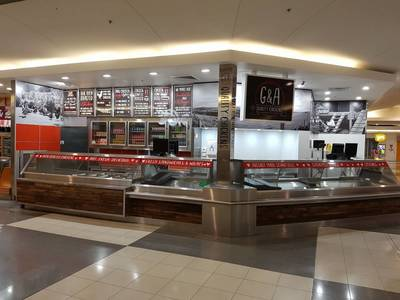 Takeaway store fitout in Goulburn New South Wales using reclaimed, recycled Australian Hardwood by Northern Rivers Recycled Timber.