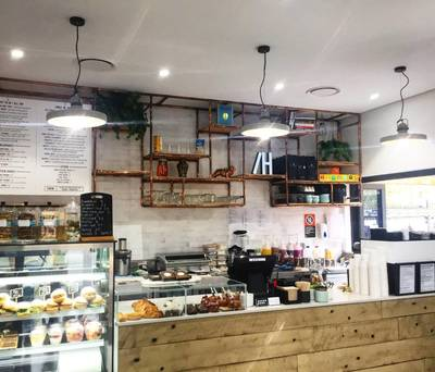 Cafe fit out in Eastern Creek using reclaimed, recycled Sleeper Panels by Northern Rivers Recycled Timber.