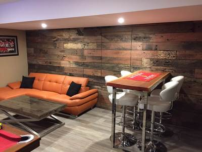 Man Cave with timber feature wall by Northern Rivers Recycled Timber