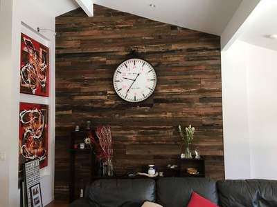 Timber feature wall in living room by Northern Rivers Recycled Timber - Artisan two board panels