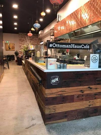 Cafe fit out using reclaimed, recycled Australian Hardwood sleeper panels in Auburn Sydney NSW by Northern Rivers Recycled Timber