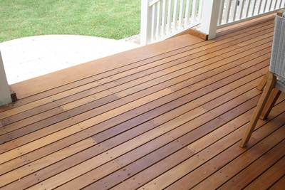 Recycled Decking - mixed creams 85 x 19mm Australian hardwood. Balgowlah, NSW.