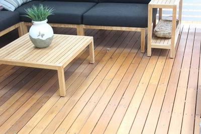 Recycled Decking - mixed creams 85 x 19mm Australian hardwood.Balgowlah, NSW.