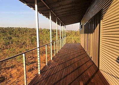 Sunset Decking.  Recycled Decking - Australian hardwood, Mixed Reds. Darwin. NT.