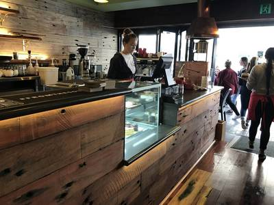 Cafe fit out using reclaimed, Australian Hardwood recycled sleeper panels in Cronulla Sydney NSW by Northern Rivers Recycled Timber