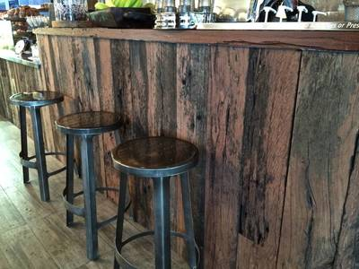 Cafe fit out using reclaimed, recycled sleeper panels in Parramatta Sydney by Northern Rivers Recycled Timber