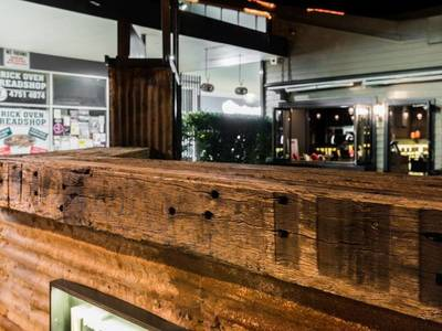 Cafe fit out using reclaimed, recycled sleeper panels in Springwood Blue Mountains NSW by Northern Rivers Recycled Timber