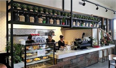 Cafe fit out using reclaimed, recycled sleeper panels in Bass Hill Sydney NSW by Northern Rivers Recycled Timber